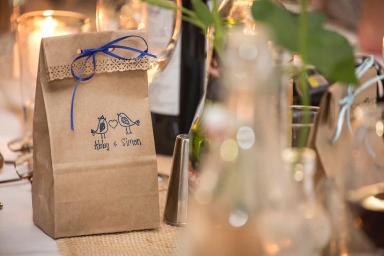 Lolly Bags Wedding Reception DIY Craft Stamp Blue Ribbon www.etsy.com