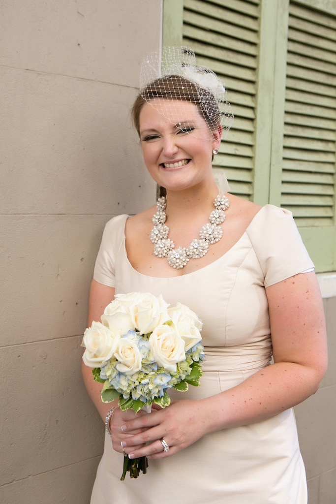 Bride Birdcage Veil New Orleans Bouquet Roses Hydrangeas Kate Spade Necklace Alfred Sung Dress www.eauphoto.com