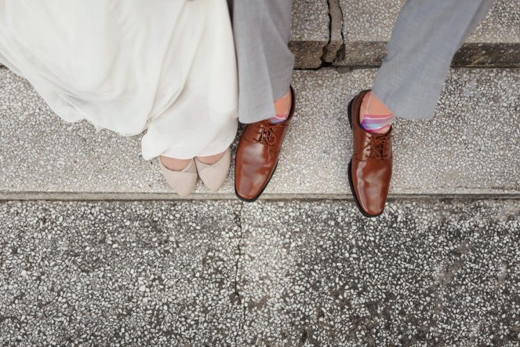 Bride Groom Shoes Pink Socks Wedding Style www.pexels.com