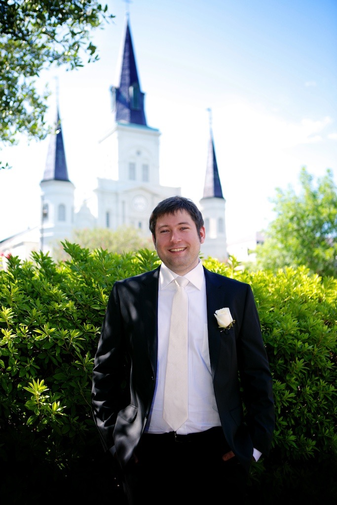 Groom Champagne Tie Cream Rose Buttonhole Jackson Square Cathedral Outdoor Ceremony New Orleans Wedding www.eauclairephotographics.com