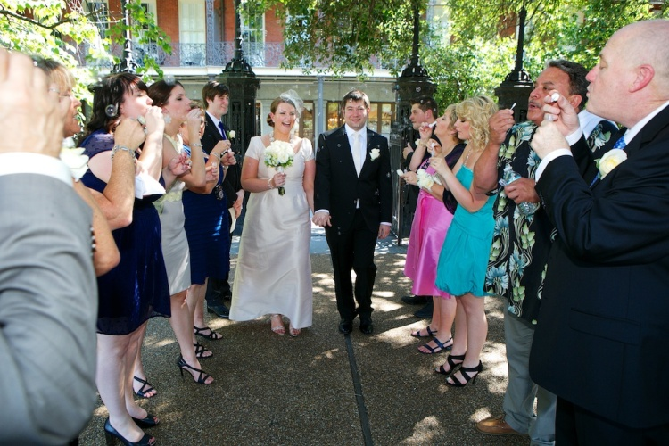 Jackson Square Bride Groom Guests Bubbles New Orleans Wedding www.eauclairephotographics.com