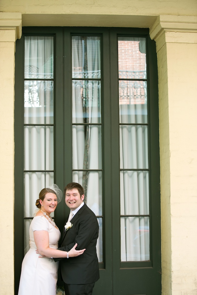 Bride Birdcage Veil Kate Spade Necklace French Quarter Green Door New Orleans Wedding www.eauclairephotographics.com