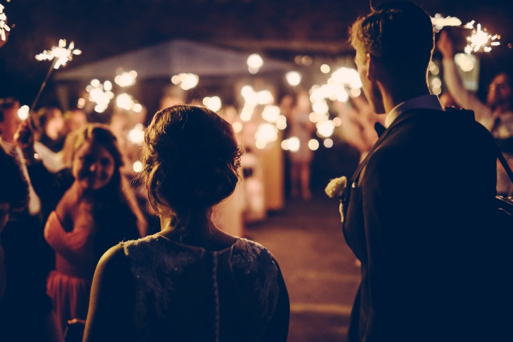 Wedding Bride Groom Sparklers Guests Christmas New Year Celebration www.unsplash.com