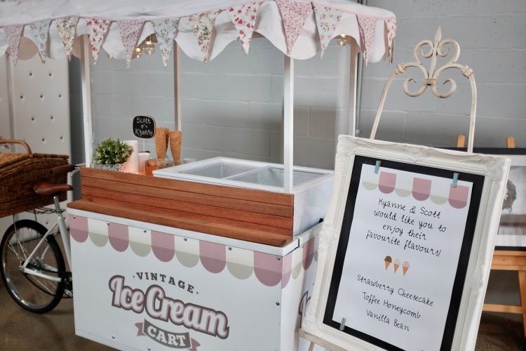 Vintage Bride Wedding Fair Vintage Ice-cream Cart Reception Wedding Bride Groom www.vintageicecreamcart.com.au
