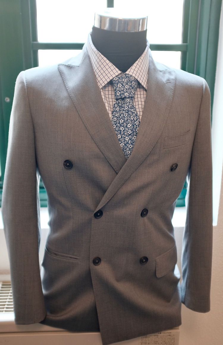 Custom Suit Groom Style Inspiration Grey Suit Patterned Shirt Blue Pattern Tie George and King www.georgeandking.com.au