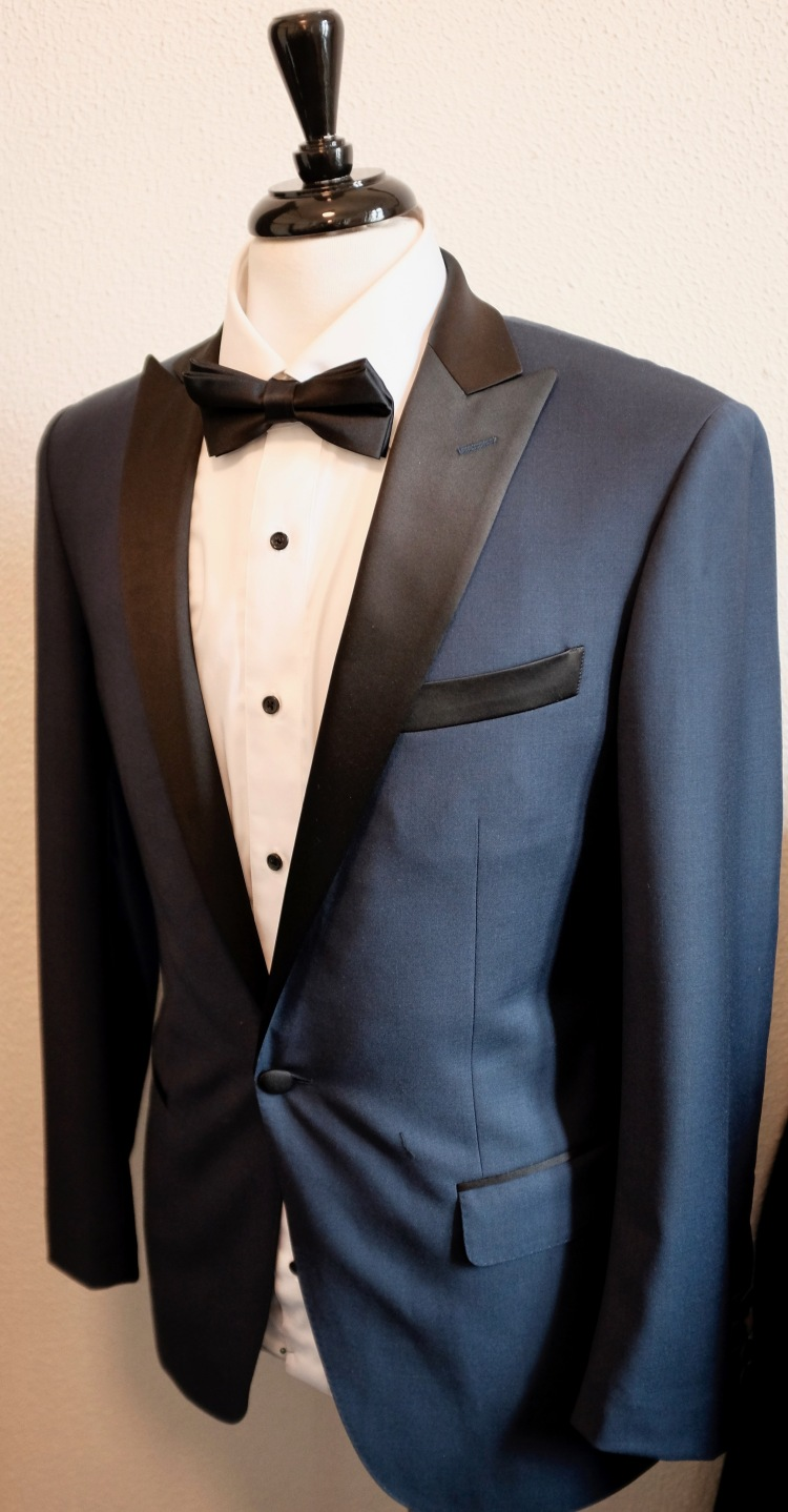 Custom Suit Dark Blue Jacket Black Satin Lapel White Shirt Black Buttons Black Bowtie Groom Style Inspiration George and King www.georgeandking.com.au