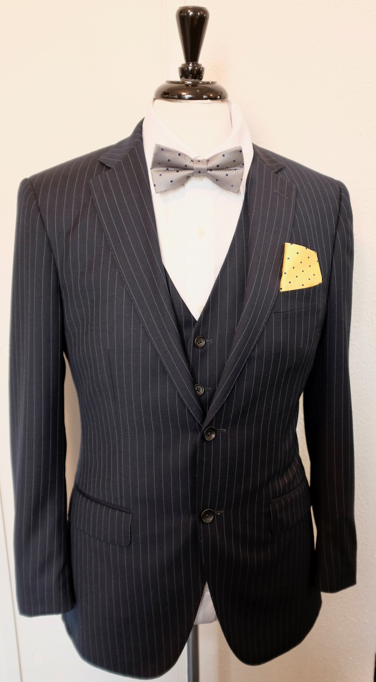 Pinstripe Custom Suit White Shirt Silver Tie Yellow Pocket Square Groom Inspiration George and King www.georgeandking.com.au